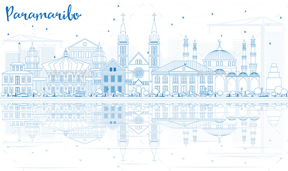 Outline Paramaribo Skyline with Blue Buildings and Reflections - Buildings Objects