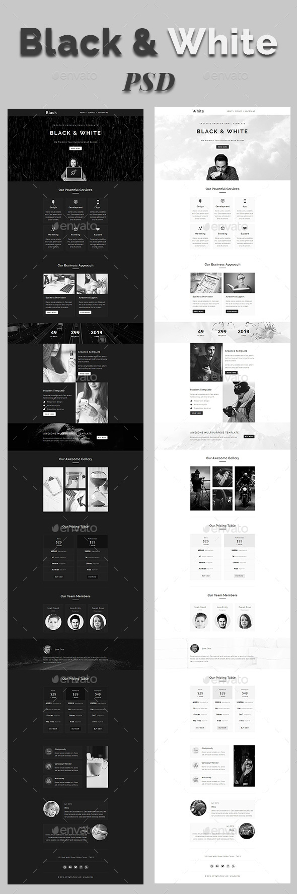 Black & White - Email PSD Template - E-newsletters Web Elements