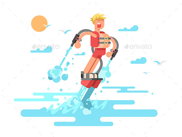 Man with Flyboard - People Characters