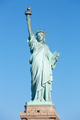 Statue of Liberty front view in New York, clear blue sky