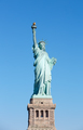 Statue of Liberty with pedestal in New York, clear blue sky