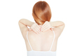 Woman holding both hands on painful neck on white - PhotoDune Item for Sale