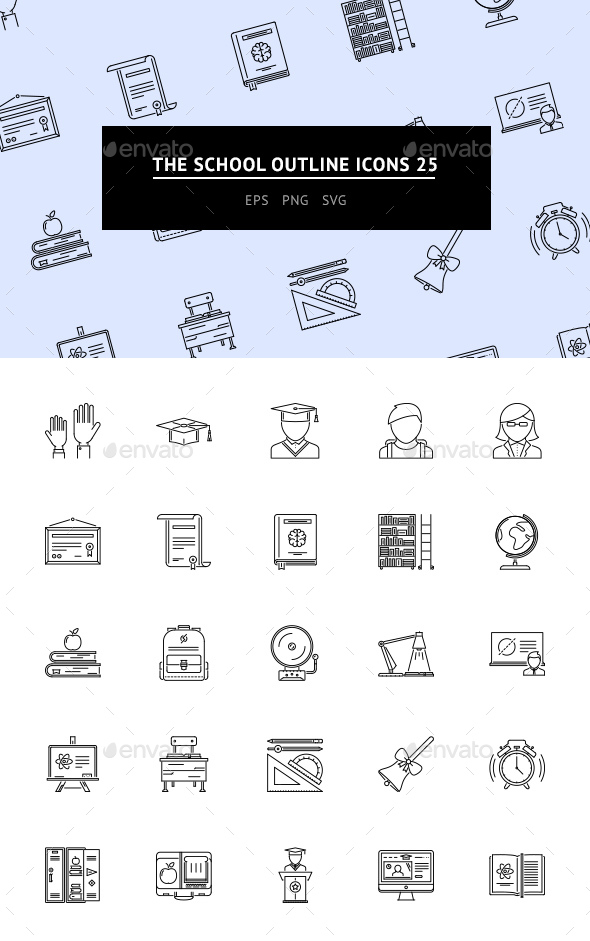 The School Outline Icons 25 - Web Icons