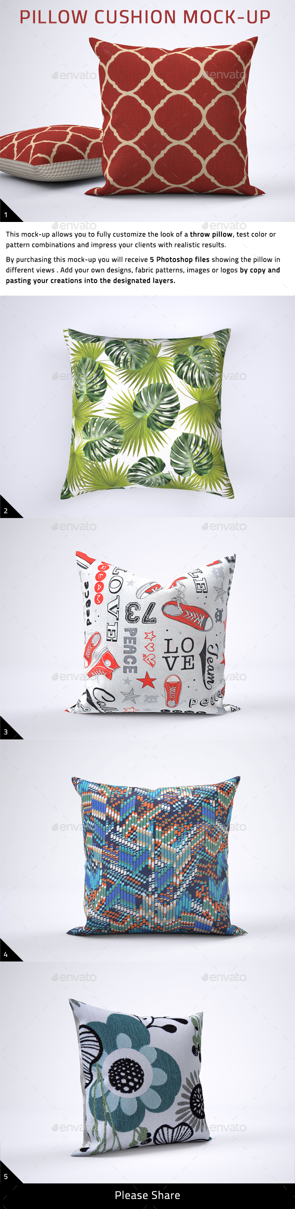 Pillow Cushion Mock-Up - Product Mock-Ups Graphics