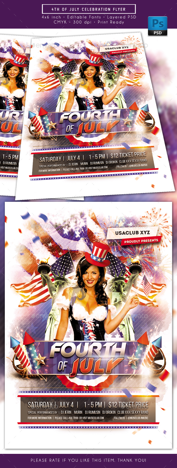 Fourth of July Celebration Day Flyer - Holidays Events