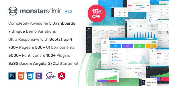 Monster - Most Complete Bootstrap 4 Admin Template + Angular 2/CLI Starter Kit