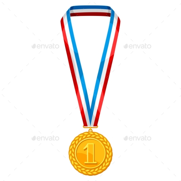 Realistic Gold Medal with Multi Colored Ribbon - Sports/Activity Conceptual