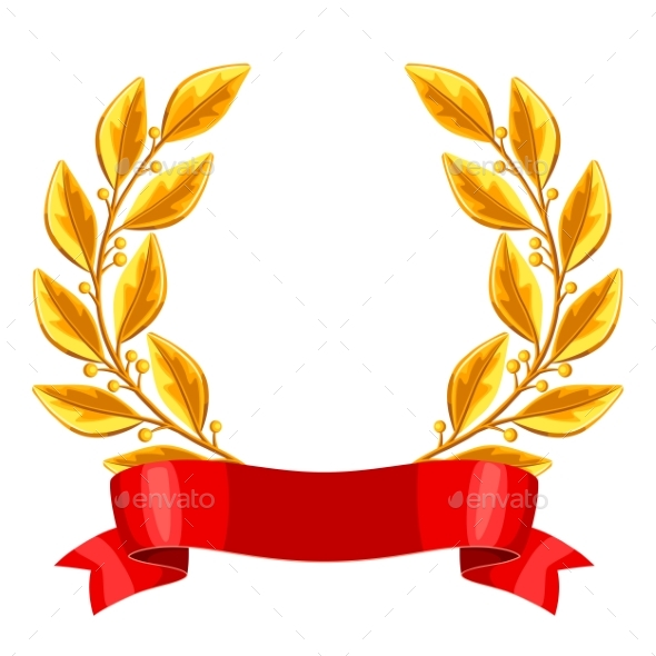 Gold Laurel Wreath with Red Ribbon - Sports/Activity Conceptual