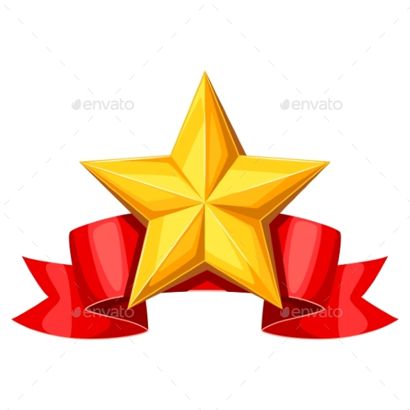 Gold Star on Red Ribbon - Sports/Activity Conceptual