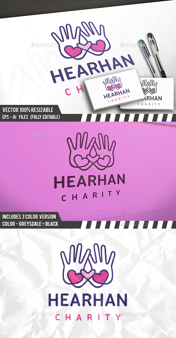 Love Charity Hands Logo - Objects Logo Templates