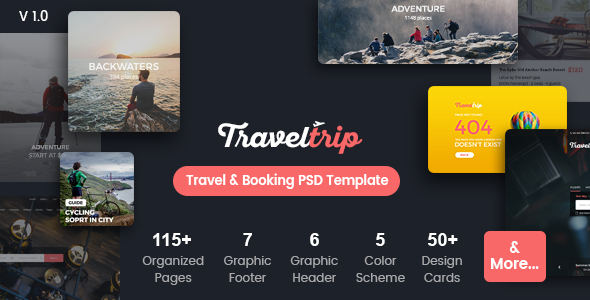 TravelTrip – Travel, Tour, Flight & Hotel Booking PSD Template Download Free