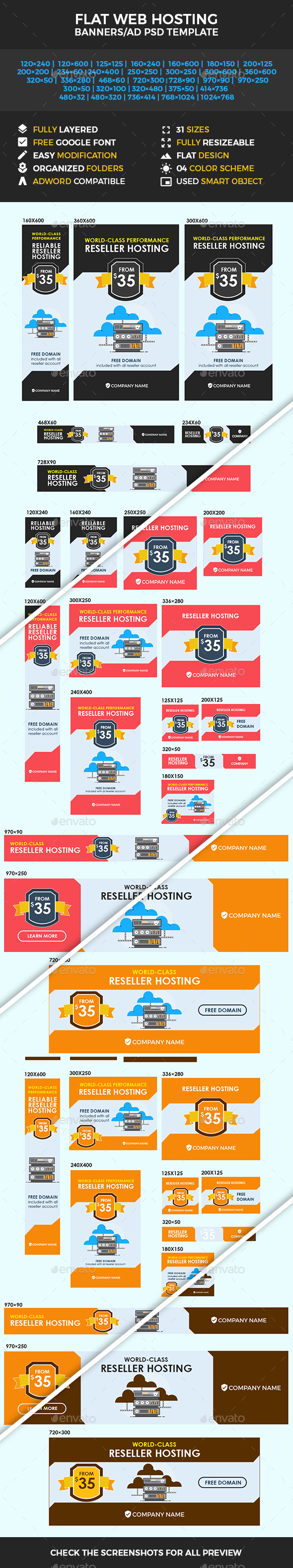 Flat Web Hosting Banners/Ad Templates - Banners & Ads Web Elements