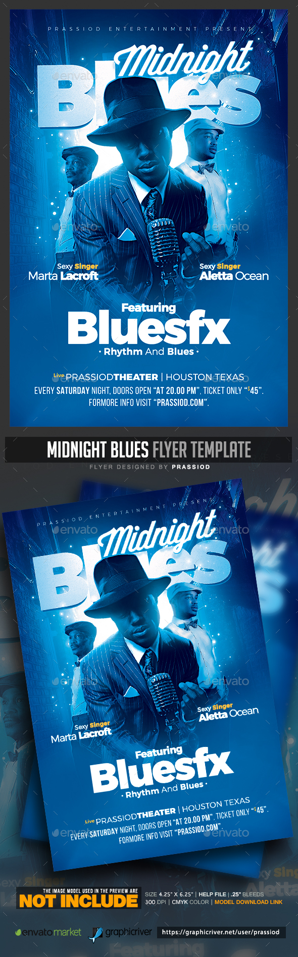 Midnight Blues Flyer Template - Concerts Events