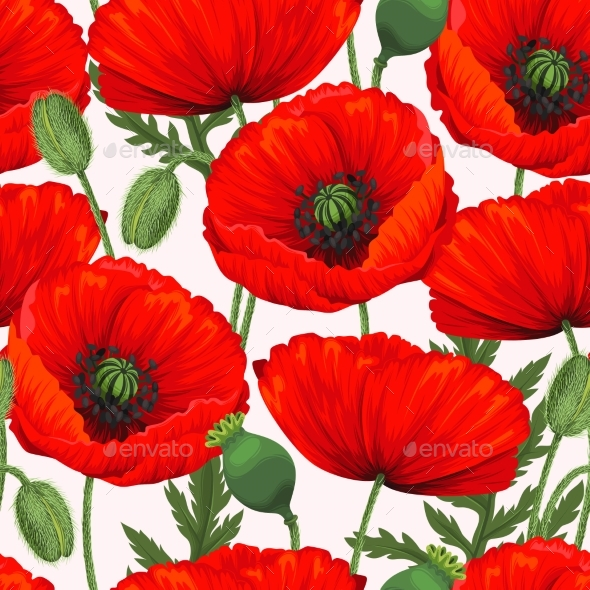 Red Poppies Seamless - Flowers & Plants Nature