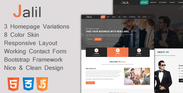 Jalil - One Page Business & Personal Portfolio Template - Business Corporate