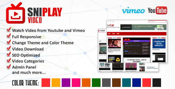 CodeCanyon Sniplay Video CMS Youtube and Vimeo Videos 20216319