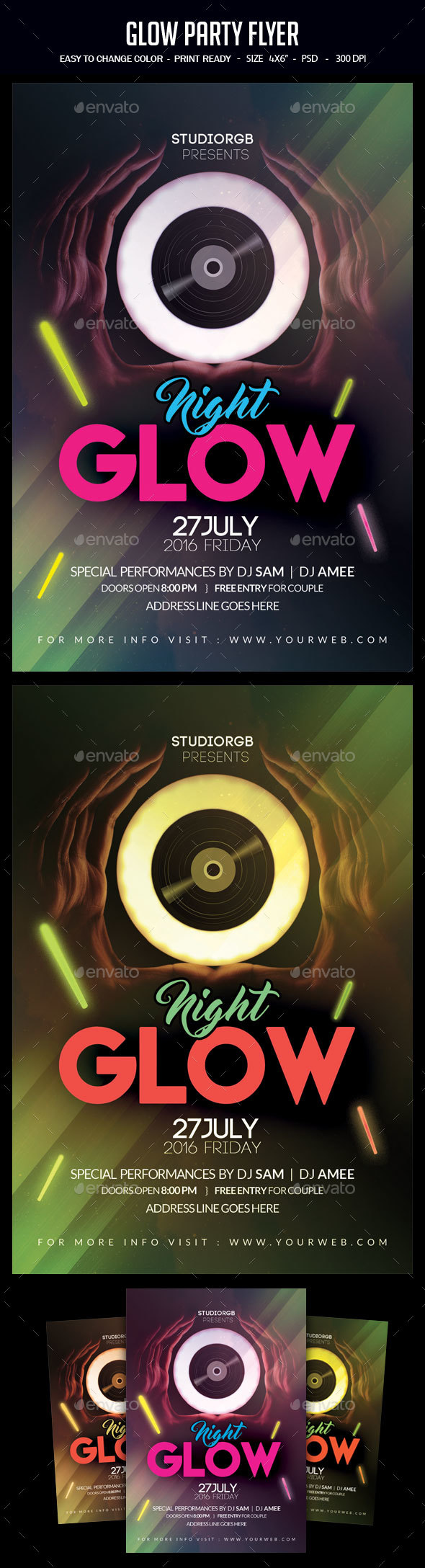 Glow Party Flyer - Clubs & Parties Events