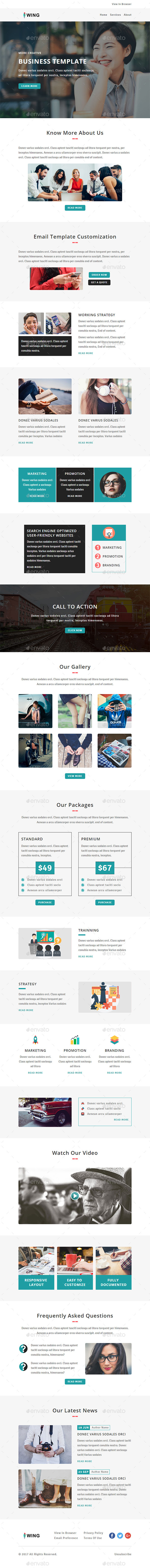 Wing - E-newsletter PSD Template - E-newsletters Web Elements