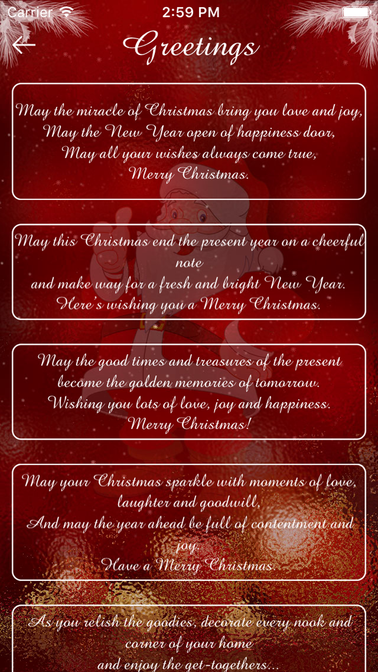 Christmas Greetings Merry Christmas Cards Ios App Objective C