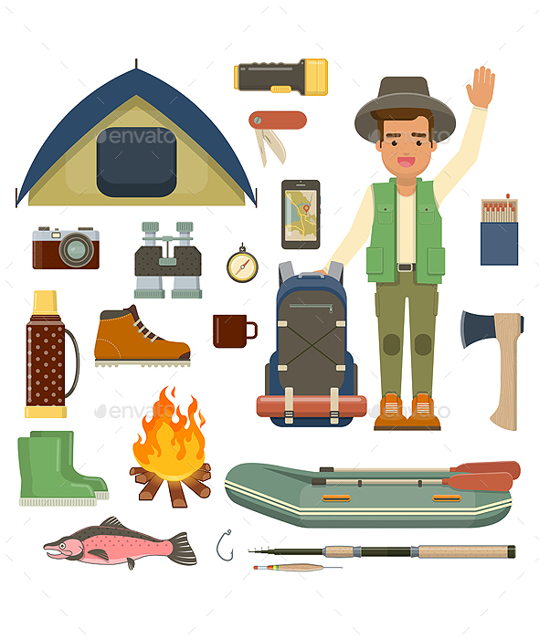 Traveler Man with Backpack and Set of Camping Equipment - Travel Conceptual
