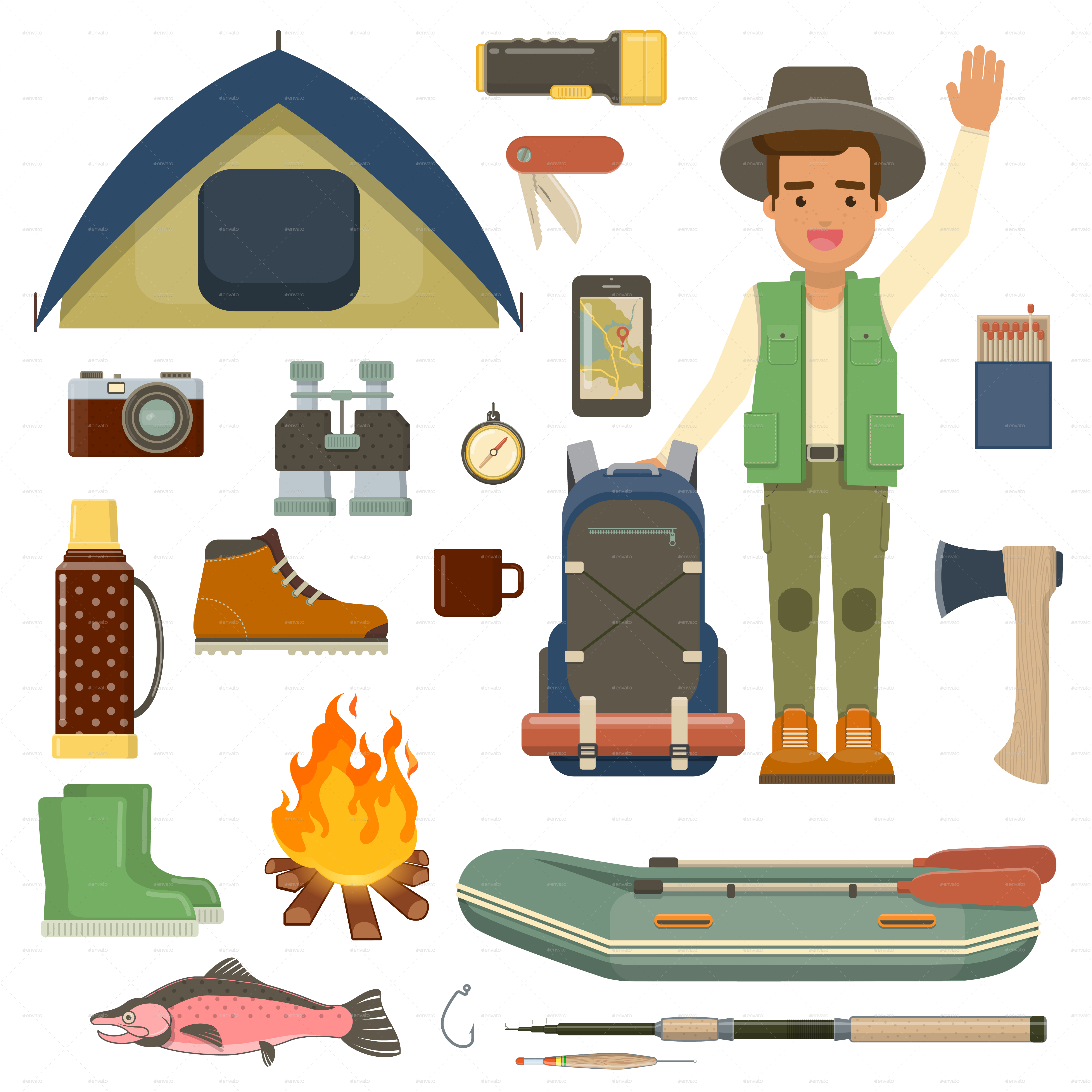 Hiking And Camping Icons Set 2