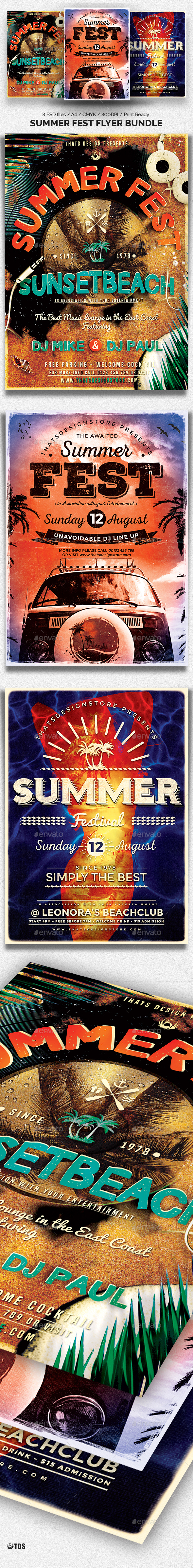 Summer Fest Flyer Bundle - Clubs & Parties Events