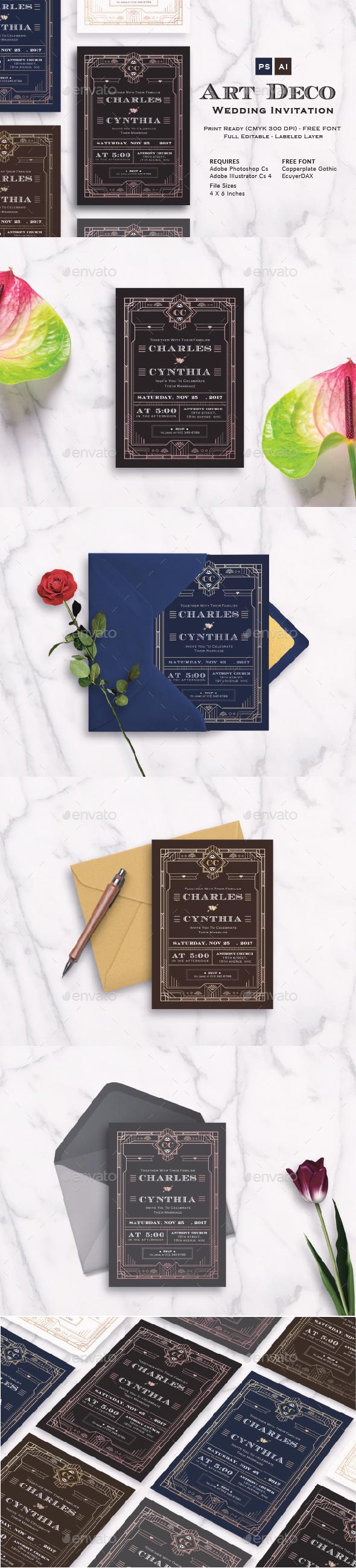 Art Deco Wedding Invitation Vol. 4 - Cards & Invites Print Templates