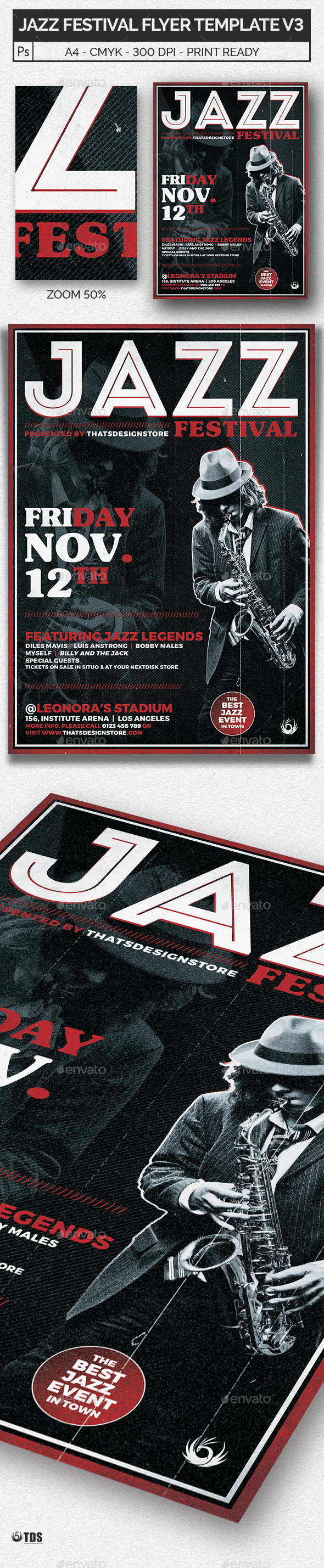 Jazz Festival Flyer Template V3 - Concerts Events