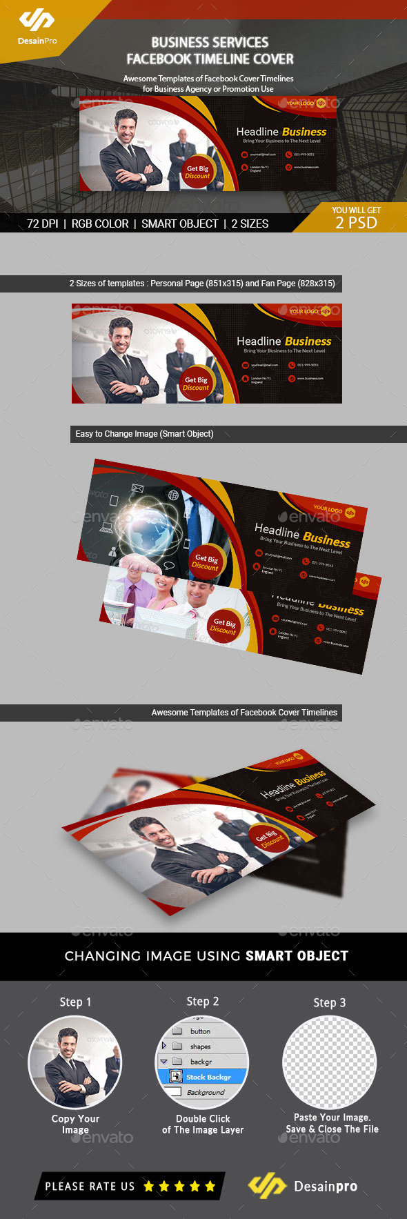 Business Solution FB Cover Template - AR - Facebook Timeline Covers Social Media