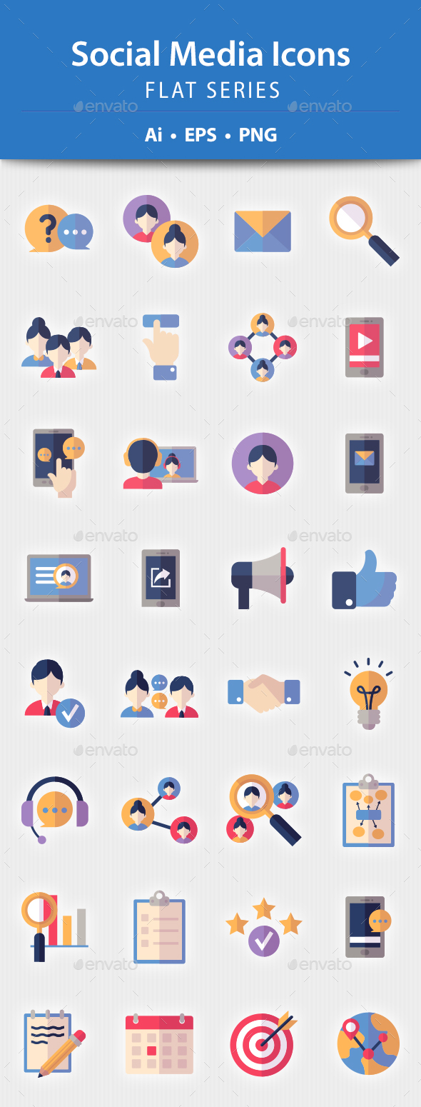 Social Media Icons - Flat Series - Web Icons