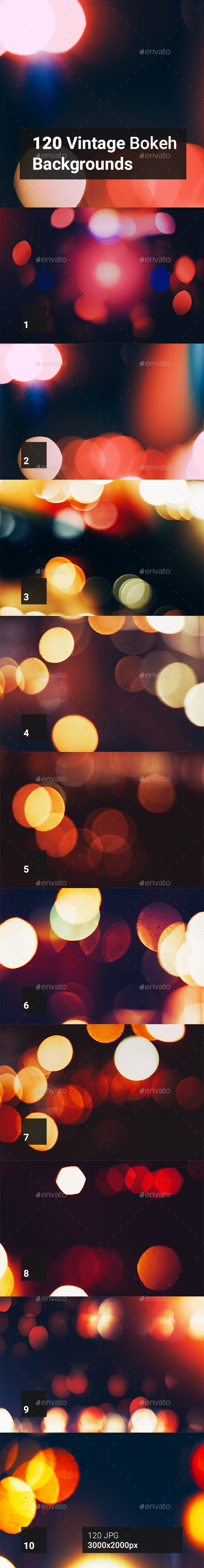 120 Vintage Bokeh Backgrounds - Abstract Backgrounds