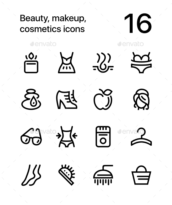 Beauty, Cosmetics, Makeup Icons for Web and Mobile Design Pack 2 - Miscellaneous Icons