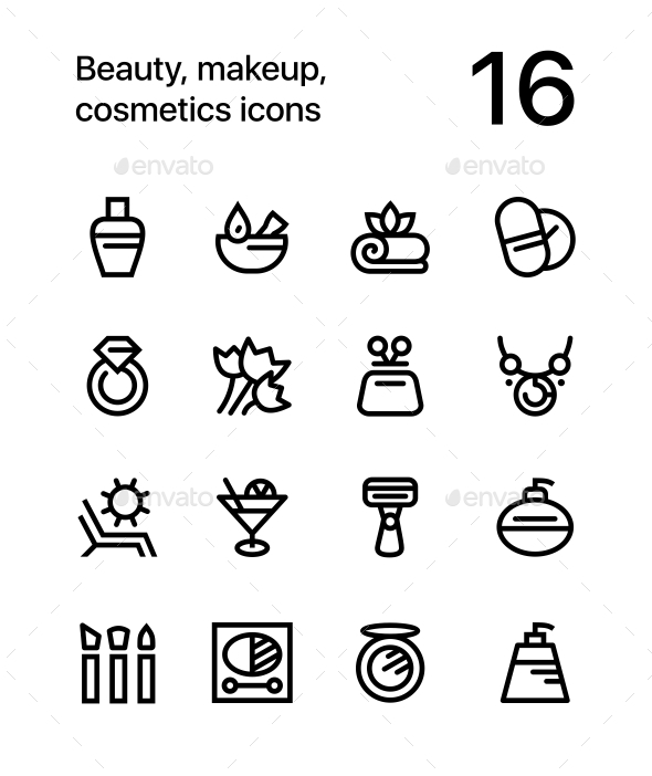 Beauty, Cosmetics, Makeup Icons for Web and Mobile Design Pack 3 - Miscellaneous Icons
