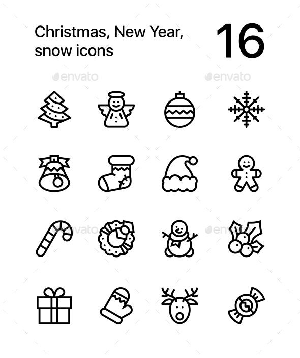 Merry Christmas and Happy New Year Icons for Web and Mobile Design Pack 1 - Seasonal Icons