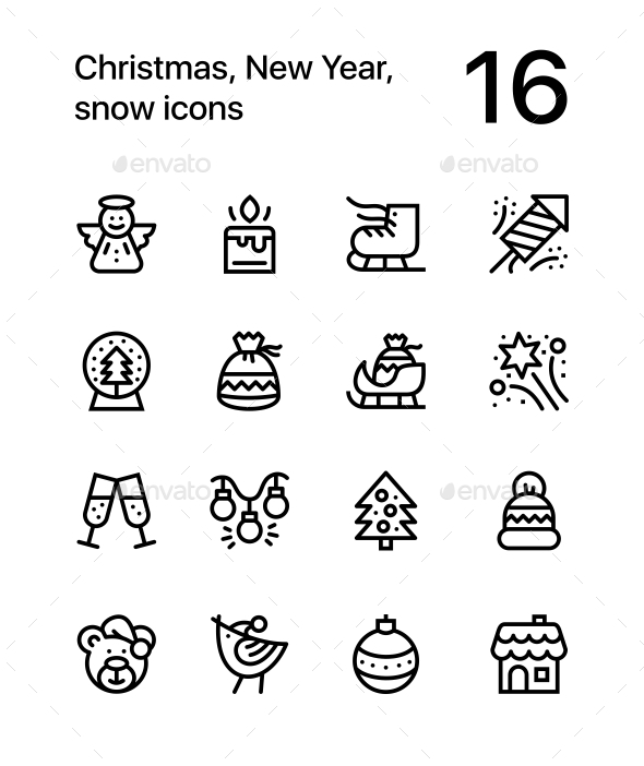 Merry Christmas and Happy New Year Icons for Web and Mobile Design Pack 2 - Icons