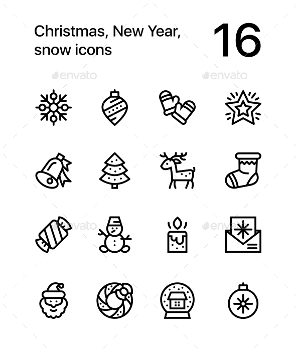 Merry Christmas and Happy New Year Icons for Web and Mobile Design Pack 3 - Icons