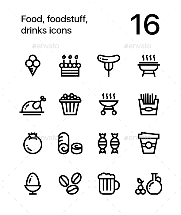 Food, Foodstuff, Drinks Icons for Web and Mobile Design Pack 4