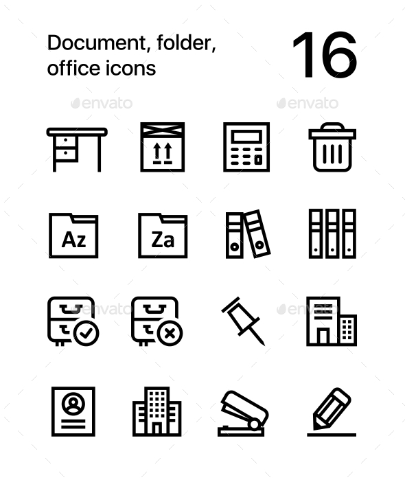 Document, Folder, Office Icons for Web and Mobile Design Pack 3 - Business Icons