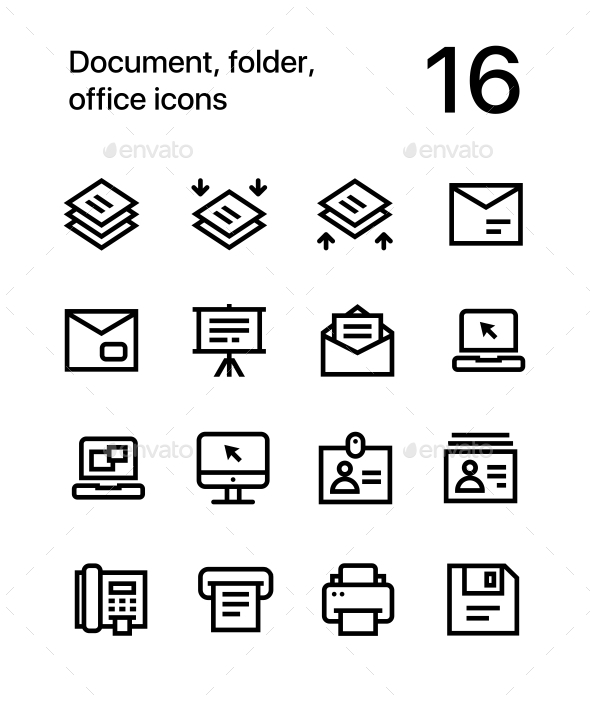 Document, Folder, Office Icons for Web and Mobile Design Pack 4