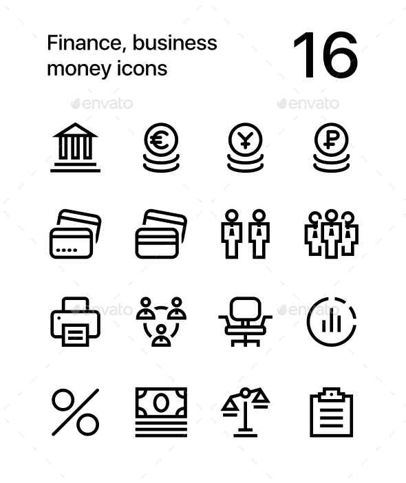Finance, Business. Money Icons for Web and Mobile Design Pack 3