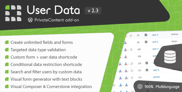 PrivateContent - User Data add-on - CodeCanyon Item for Sale