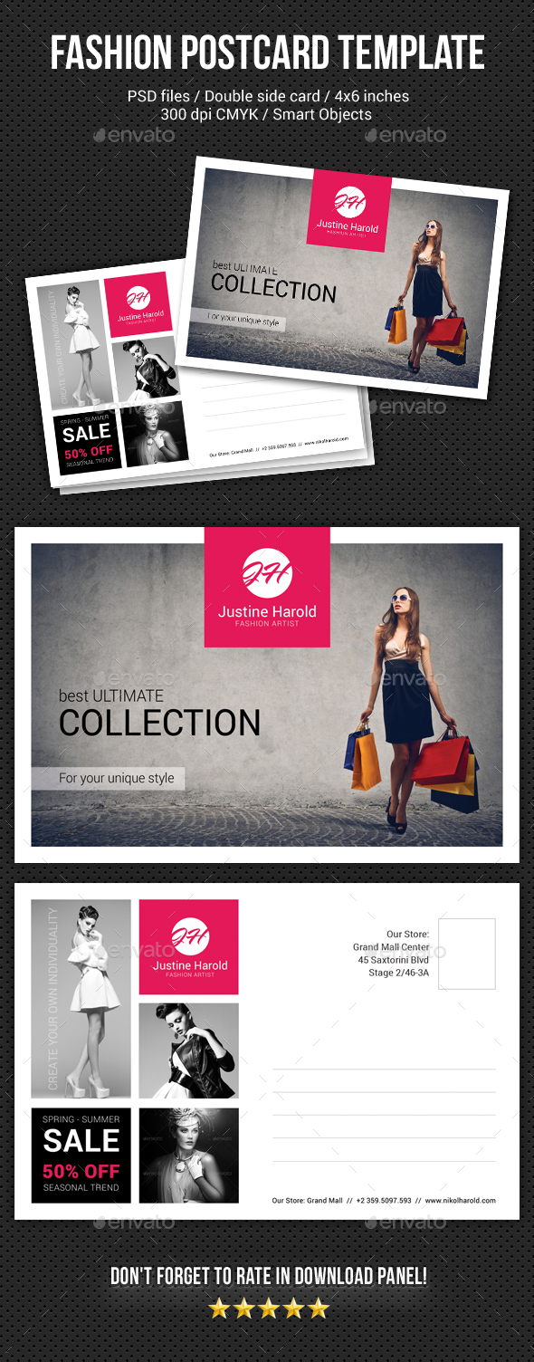 Fashion Postcard Template 2 - Cards & Invites Print Templates