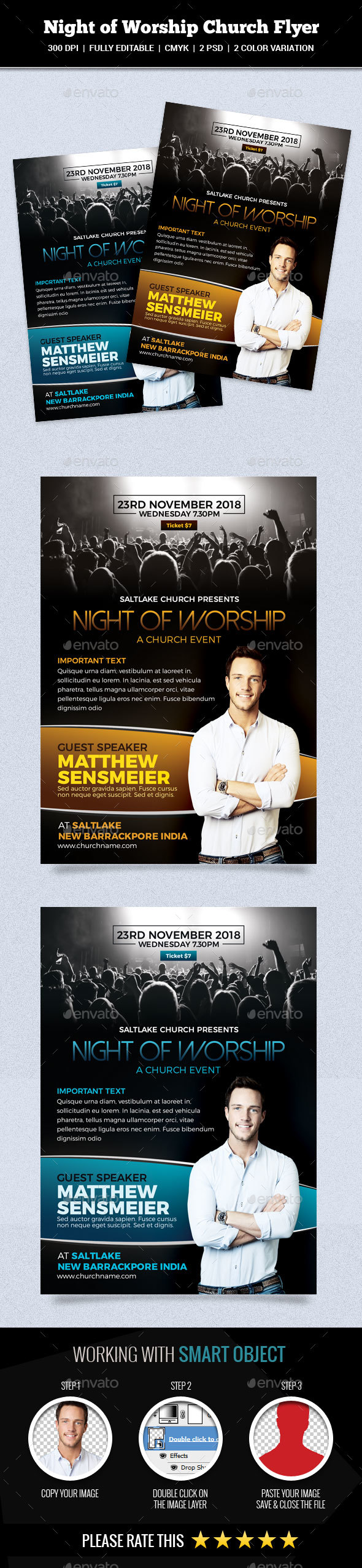 Night of Worship Church Flyer - Church Flyers