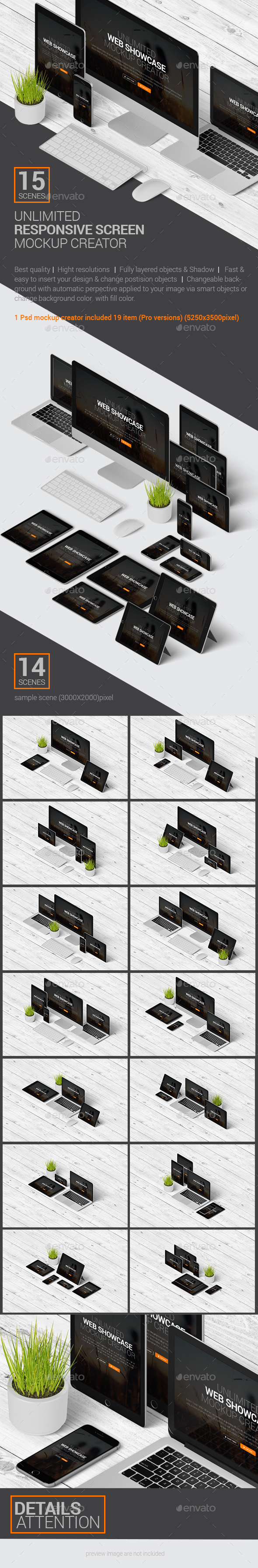 Multi Devices Responsive Screen Mockup - Product Mock-Ups Graphics
