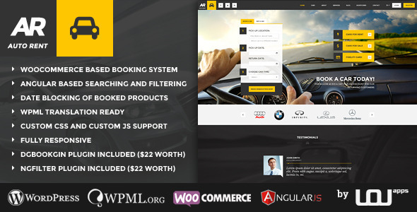 Auto Rent - Car Rental WordPress Theme - Retail WordPress