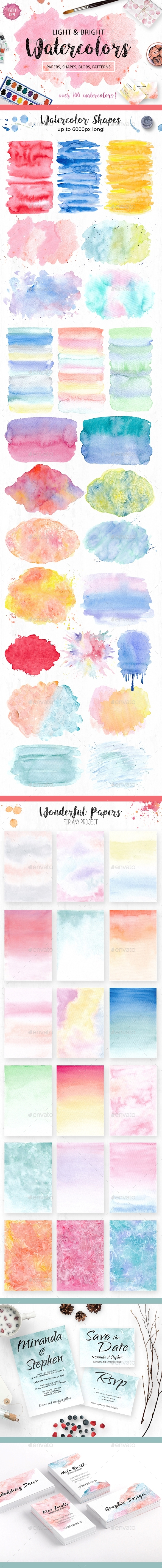 Watercolor Textures Pack - Decorative Graphics