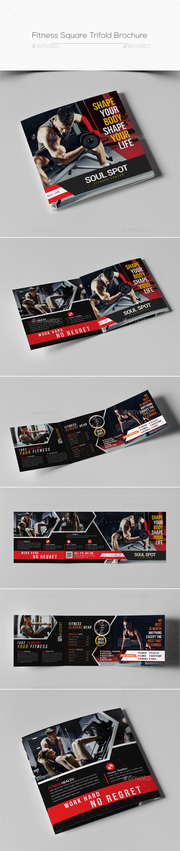 Fitness Square Trifold Brochure - Corporate Brochures