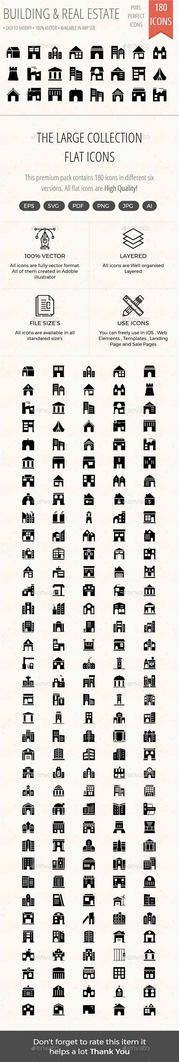 Building and Real Estate Material Icons - Buildings Objects