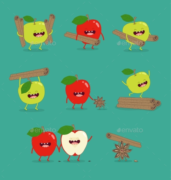 GraphicRiver Flat Cute and Funny Green Apple Fruit Set 20220093