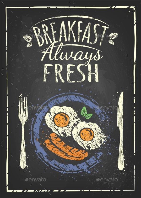 Poster with Plates of Fried and Scrambled Eggs - Food Objects